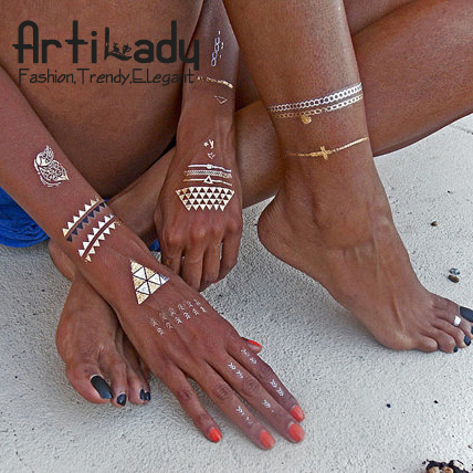 Artilady Tamaño Grande Oro Plata Tatuaje Tatuajes Temporales