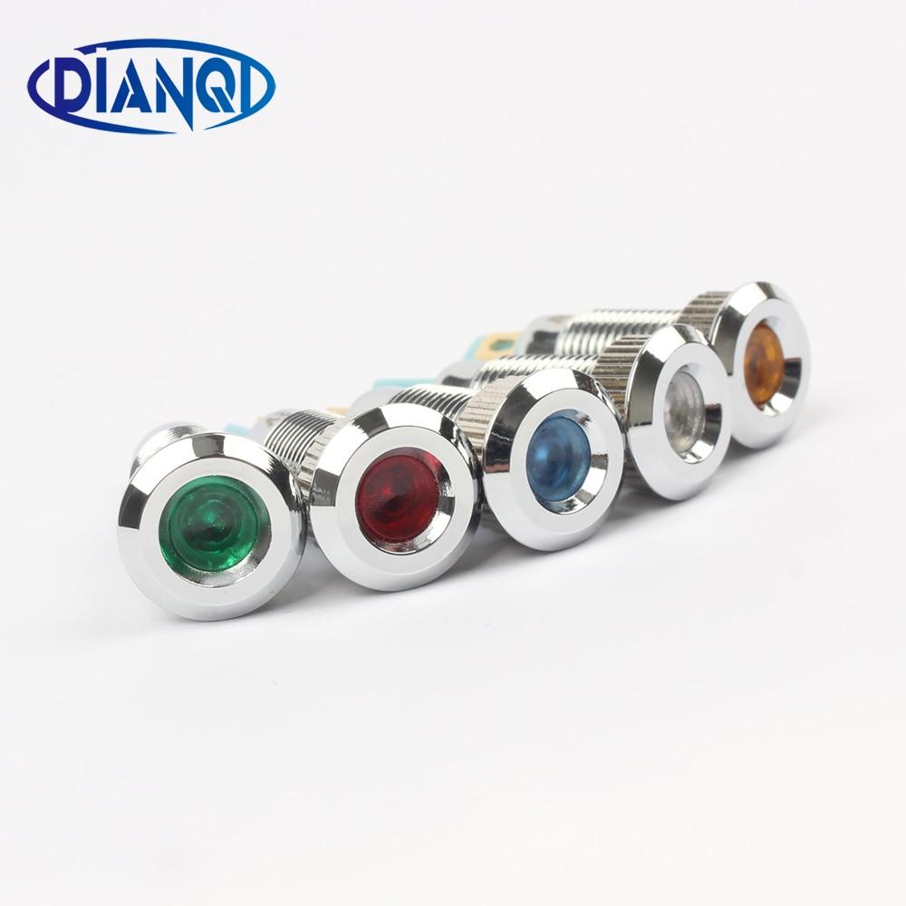 Metal Indicator Light LED 8mm Waterproof Signal Lamp 6V 12V 24V 220v Dot LIGHT Colorful Concave Indicator  8ZSD.A.C