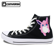 Sneakers Woman Man Converse All Star Women Men Shoes Pokemon Go Wigglytuff  Design Hand Painted High Top Canvas Shoes Boys Girls