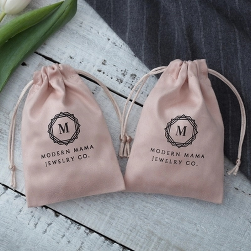Image 2 - 50Pcs/lot Jewelry Gift Bags Pink Flannel Drawstring Pouches  Wedding Jewellery Packaging Favor Cosmetic Bags Can Custom  Size/LogoJewelry Packaging