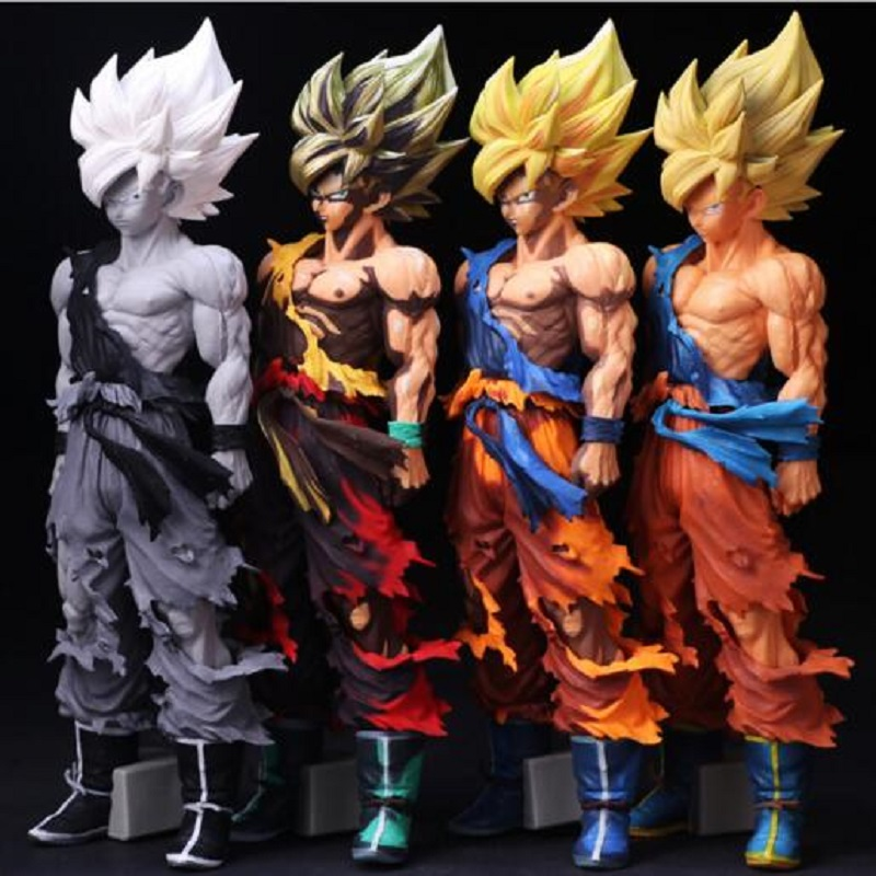 Dragon Ball 4 Color Version Son Goku Pvc Action Figure Model Toy Dragon Ball Super Saiyan DIY Display Toy Cartoon Birthday Gift 36cm anime cartoon dragon ball z super saiyan 4 son goku pvc action figure collection model toy gb082