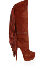 Fashion wine Flock Women's Stiletto Heel Knee High Boots With Tessels And Platform