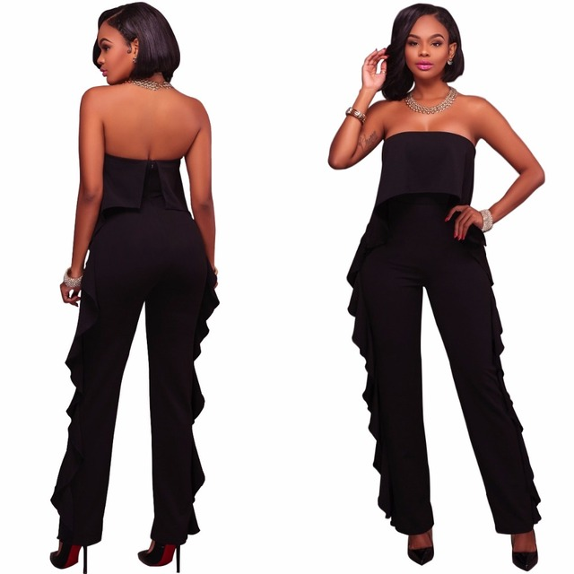 a64f5721a5564 Adogirl Off Shoulder Black White Wine Ruffle Sides Fashion Playsuits Women s  Sexy Long Jumpsuits Rompers Plus Size Autumn Pants