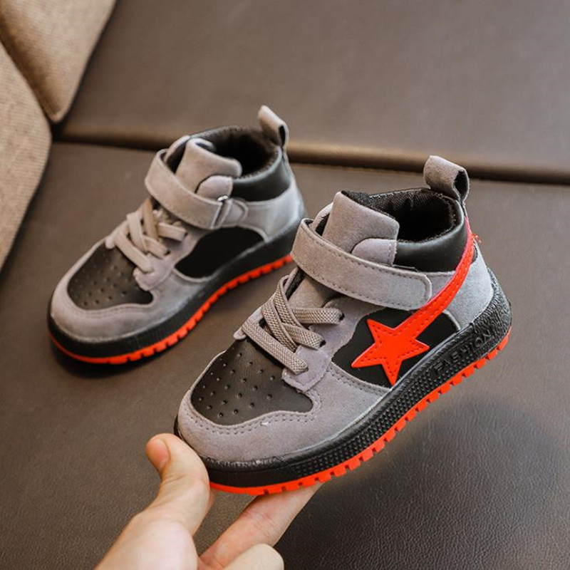 HaoChengJiaDe Kids Sneakers Boy Shoes Spring Autumn Children PU Shoes Fashion Color Patch Outdoor Breathable Boys Sport Shoes