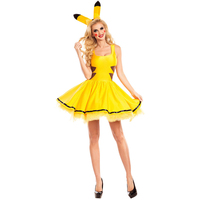 Ladies Pokemon Pikachu Costume Holiday Sexy Yellow Mini Dress Adult Hen Party Book Week Cosplay Fancy Dresses