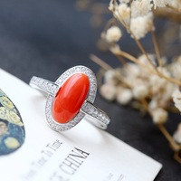 Retro Thai Silver Wholesale Handmade Natural Coral Ring S925 Sterling Silver Open Ended Ring Fashion Silver Female Ring