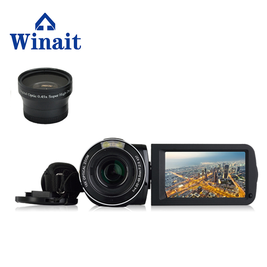 Winait 3.0'' touch display screen HDV-F5 digital video camera with Rotating LCD Screen,Electronic Image Stabilization winait electronic image stabilization hdv z8 digital video camera with recording function touch screen