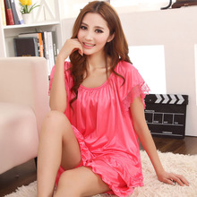 2015 new summer fashion high quality silk pajama lace large size women thin short sleeve shorts, free home delivery