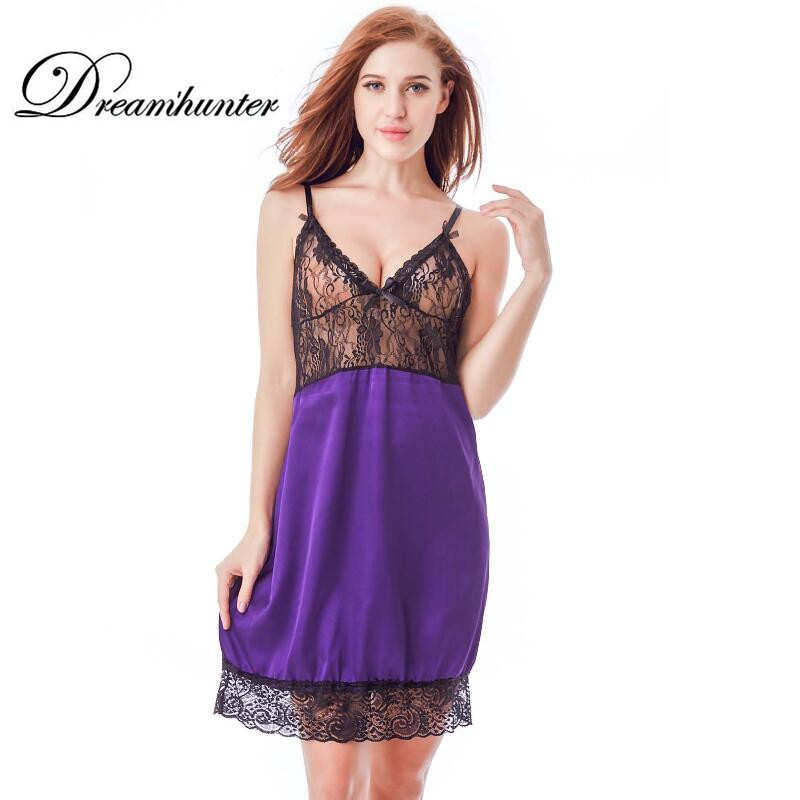 Sexy Nightgown Lingerie Fashion Lace Patchwork Nightdress Women Satin Nightwear Silk Slip Sleepwear Plus Size 4XL