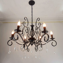 Multiple Chandelier American minimalist living room wrought iron candle crystal  lights lighting lamps bedroom ZA