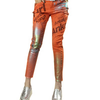 European Station Fashion Style Printing Stretch Orange Red Letter Printed Godlen Polished Nine Minutes Shining Layd
