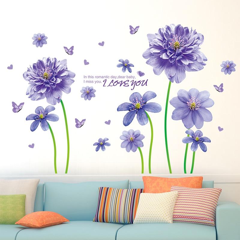[SHIJUEHEZI] Kreative Lila Blume Wandaufkleber Selbstklebende Romantische  Tapete Ornament Für Wohnzimmer Schlafzimmer Dekoration