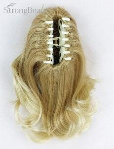 Image 3 - 強い美容合成ショート波状ブロンド黒ポニーテールクリップで/上のヘアピース爪クリップポニーテイル用髪エクステンション