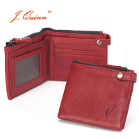 J Quinn Red Ladies Wallet Purse Hasp With Zipper Coin Pocket Grain Leather Women S Wallets