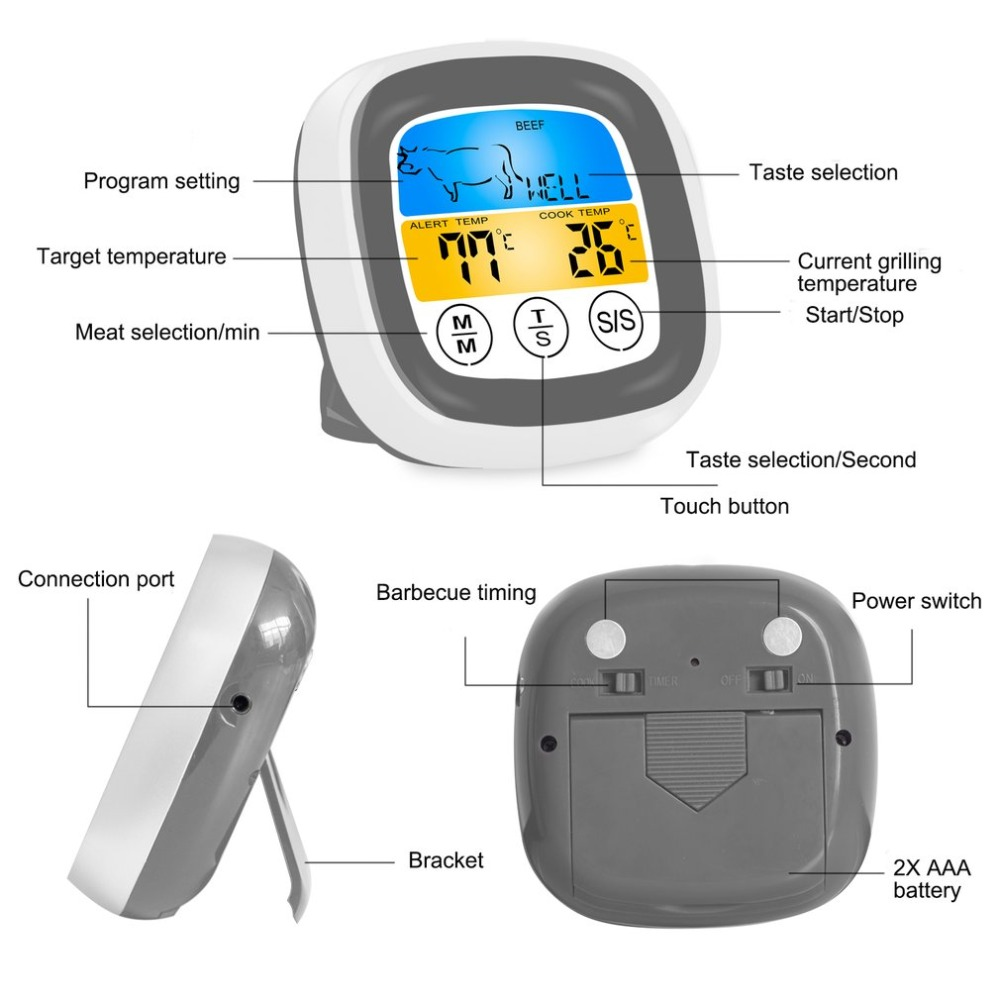 Digital Wireless Food Thermometer with Preset Temperature and Touch Screen Suitable for Perfect Cooking of Chicken Turkey and Fish 11