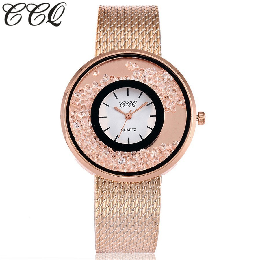 CCQ Brand Fashion Gold & Silver Plastic Band Women Rhinestone Watches Luxury Female Quartz Watch Clock Gift Relogio Feminino Hot 2017 luxury brand fashion personality quartz waterproof silicone band for men and women wrist watch hot clock relogio feminino