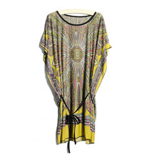 Summer Style Folk Tropical Casual Silk Floral Beach Dress Women Loose Ice Yellow Bohemian Dress Mini Sundress Robe Vestidos ZDD