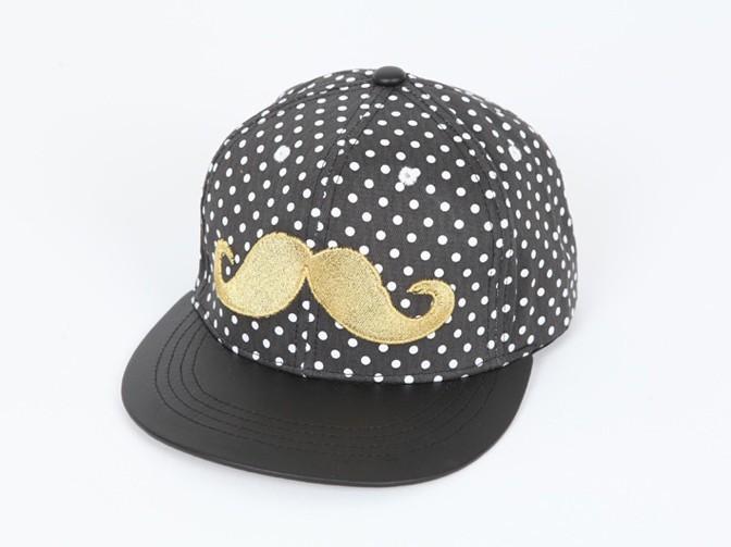 men women fashion casual cap summer short brim dot mustache (1)