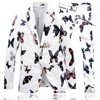 Jaqueta + Calça dos homens Blazer Moda Roupas de Palco Vestido de Duas Peças Terno Casaco Slim Fit Ternos com Pant Tamanho Grande Borboleta Gent vida