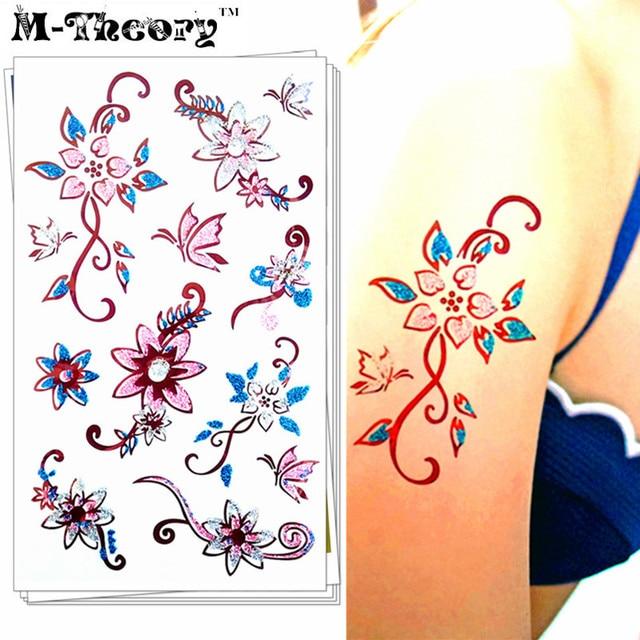 M-theory 3D Glitter Makeup Temporary Tattoos Body Arts Floral Flash Tatoos Sticker 16×9 Cm Tatuagem Bikini Swimsuit Makeup Tools