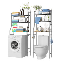 Dual Tier and Triple Tier Stainless Steel Bathroom Toilet Shelf Washing Machine Floor Type Storage Rack Bathroom Organizer