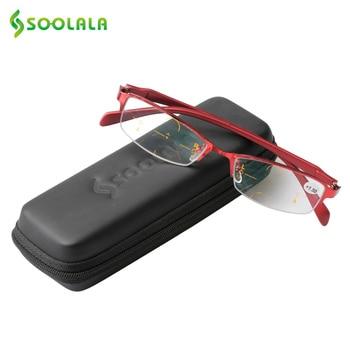 cb380a1d73 Gafas de lectura progresistas multifocales para mujer SOOLALA de aleación  de presbicia media montura lentes multifocales asintóticamente
