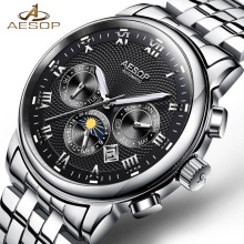 New AESOP Luxury Men Watch Automatic Mechanical Wristwatch Stainless Steel Male Clock Relogio Masculino Chronograph Male Saati