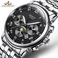 New AESOP Luxury Men Watch Automatic Mechanical Wristwatch Stainless Steel Male Clock Relogio Masculino Chronograph Male Saati