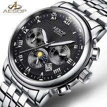 Nieuwe AESOP Luxe Mannen Horloge Automatische Mechanische Horloge Roestvrij Staal Mannelijke Klok Relogio Masculino Chronograaf Mannelijke Saati