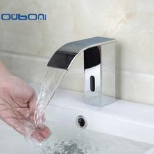 Новый Современный Хром Полированный Смесители Щеткой Водопад Ванная кухня Раковина Кран Автоматический