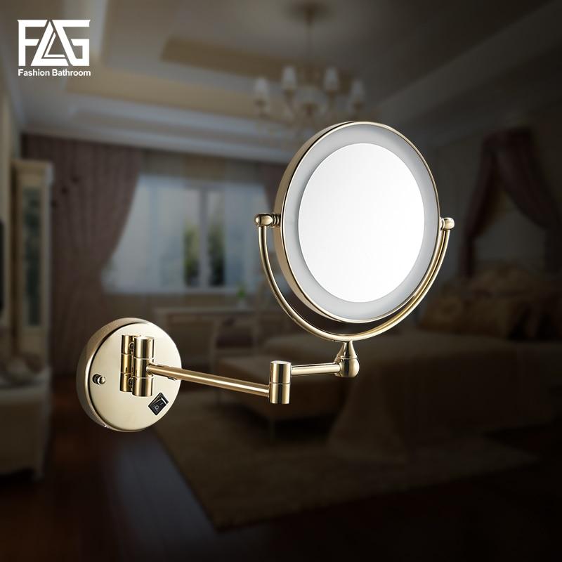 Золотой латсветодио дный унный светодиодный свет зеркала для макияжа 8 Круглые двойные стороны 3X/1X зеркала ванная косметическое зеркало на...