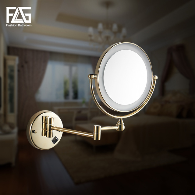 "Golden Brass LED Light Makeup Mirrors 8"" Round Dual Sides 3X /1X Mirrors Bathroom Cosmetic Mirror Wall Mount Magnifying Mirror"