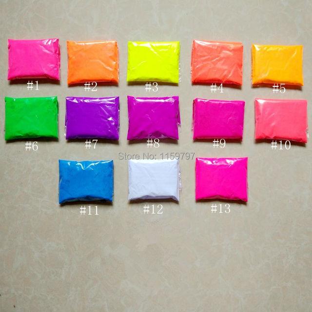 (Mezcla de 13 colores) 130g Polvo Fluorescente Fluorescencia Jabón Pigmento de la Impresión de la Pintura de Neón polvo para Esmalte de Uñas y la pintura