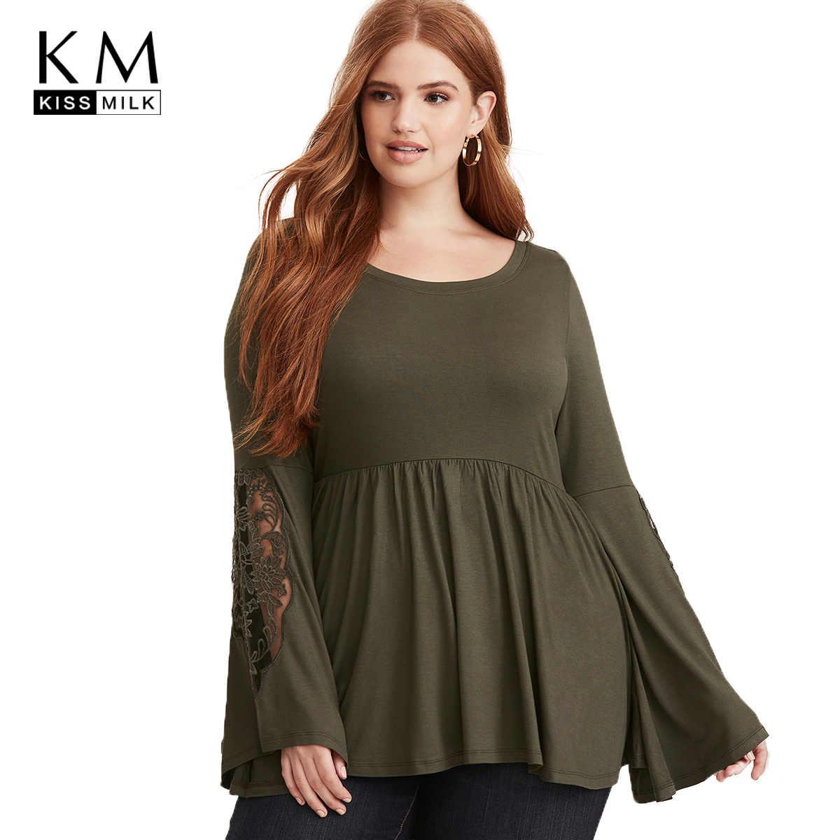 a89e65047261 kissmilk Plus Size Patchwork Lace Women shirts Hollow Out Long Sleeve  T-shirts Lace Up