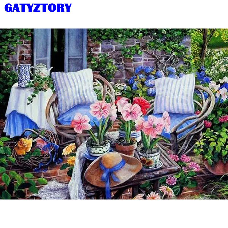 Frameless Canvas Art Oil Painting Flower Painting Design: GATYZTORY Frameless Picture DIY Painting By Numbers Garden