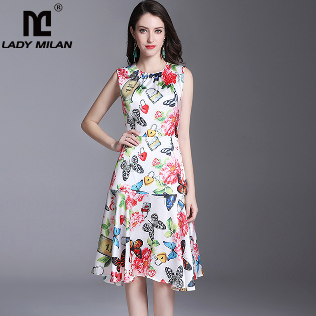 New Arrival 2018 Womens O Neck Sleeveless Floral Printed Ruffles Casual Fashion Summer Dresses