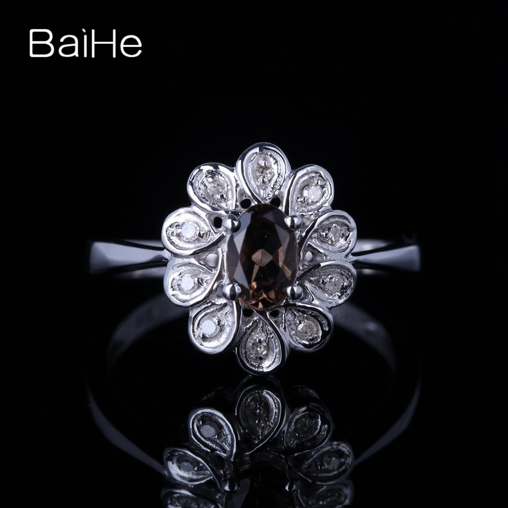 BAIHE Solid 14K White Gold Certified 0.416ct Oval cut 100% Genuine Smokey Quartz Flawless Wedding Women Trendy Fine Jewelry Ring