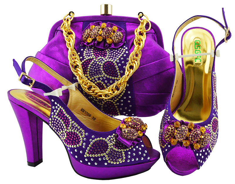 цена на Purple Color Italian Shoe with Matching Bag for Wedding Italy Italian Matching Shoe and Bag Set for Wedding Party Shoes with Bag