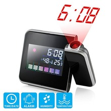 Digital LCD Projection LED Display Alarm Clock Weather  Snooze Function Temperature Thermometer Humidity Table Clock Decor