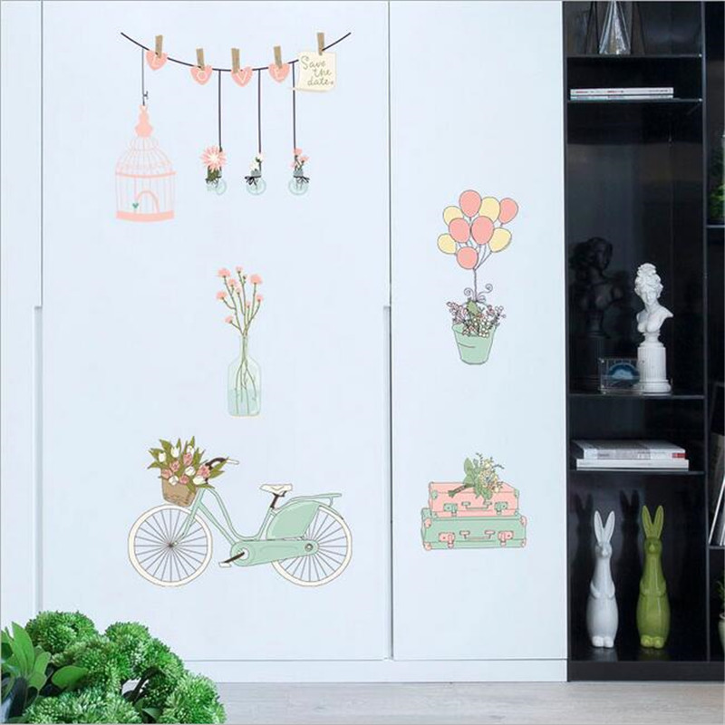 1PCS Hand painted bicycle balloon Wall Stickers DIY for bedroom porch bedside TV wall decor Baby Girls Room Removable Mural in Wall Stickers from Home Garden