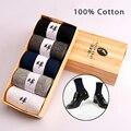 5 Pares/lote Novos Homens meias meias calcetines hombre marca negócio clássico dos homens de alta qualidade 100% meias de algodão casuais atacado