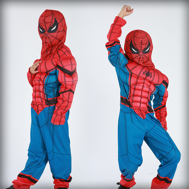 Classic Ultimate Spiderman Muscle Cosplay Costume Halloween Superhero For Kids Boy