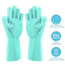 Magic Cleaning Sponge Gloves with Soft Bristles,Reusable Silicone Brush Heat Resistant Scrubber Gloves for Kitchen Bathroom