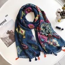 Дамская мода темно-синий Кешью цветочный кисточкой шаль из вискозы шарф осень Этническая глушитель оголовье Foulards Sjaal обёрточная бумага хиджаб снуд