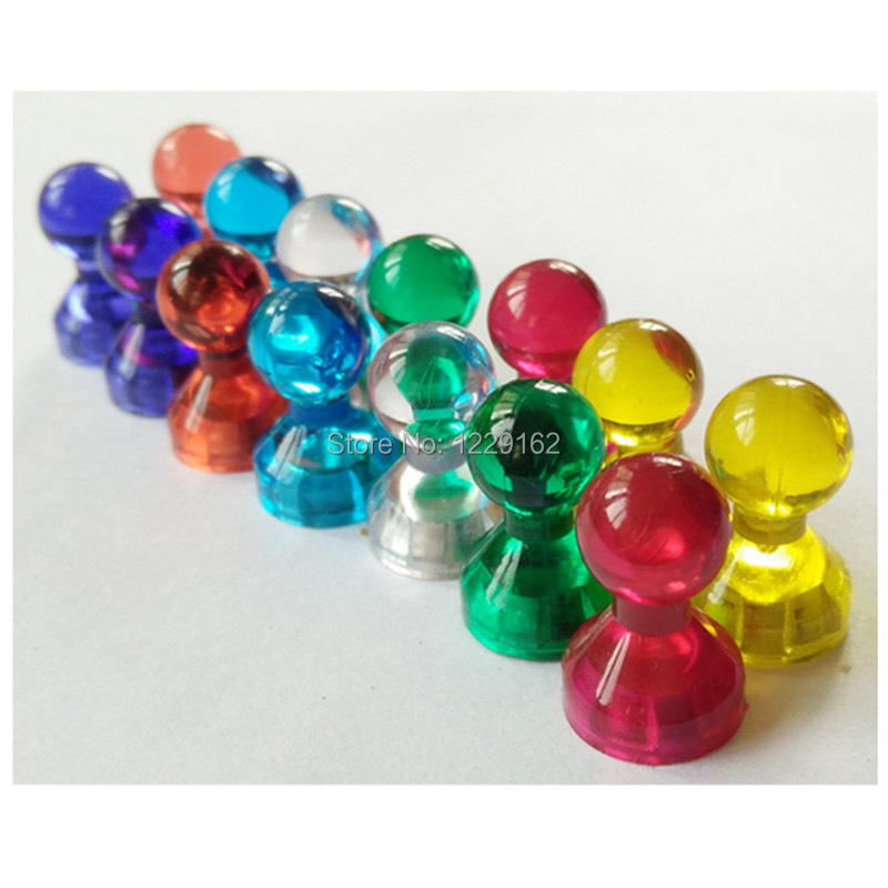Hot !! (14pcs/set )Transparent Noticeboard Skittle Pin Magnets Multi Color Magnetic thumbtack Whiteboard Message sticker