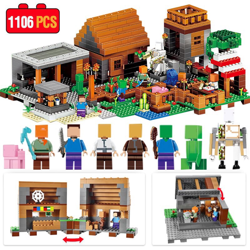 My World Mechanism Cave Building Blocks Compatible Legoed Minecrafted Village Aminal Alex Action Figures Brick Toys For Children
