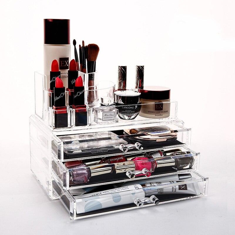 QUBABOBO Makeup Organizer Acrylic Storage Box Clear Cosmetic <font><b>Drawers</b></font> Jewelry <font><b>Drawer</b></font> Multi-function Makeup Brush Box Organizer