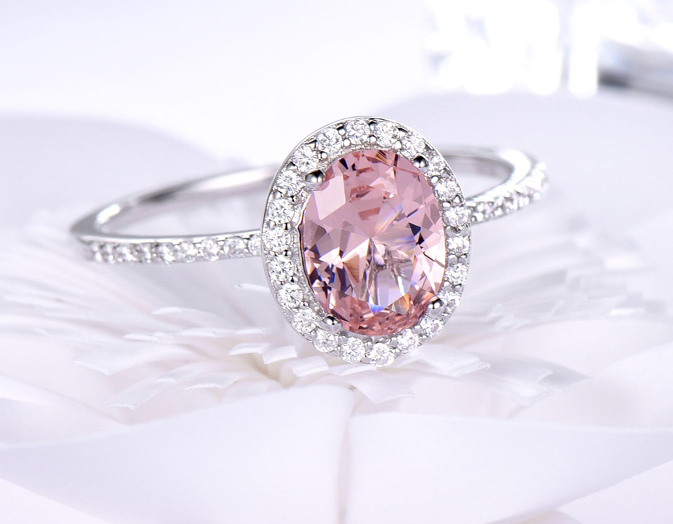 HTB1UAcebeUXBuNjt a0q6AysXXaz UMCHO 925 Sterling Silver Ring Oval Classic Pink Morganite Rings For Women Engagement Gemstone Wedding Band Fine Jewelry Gift