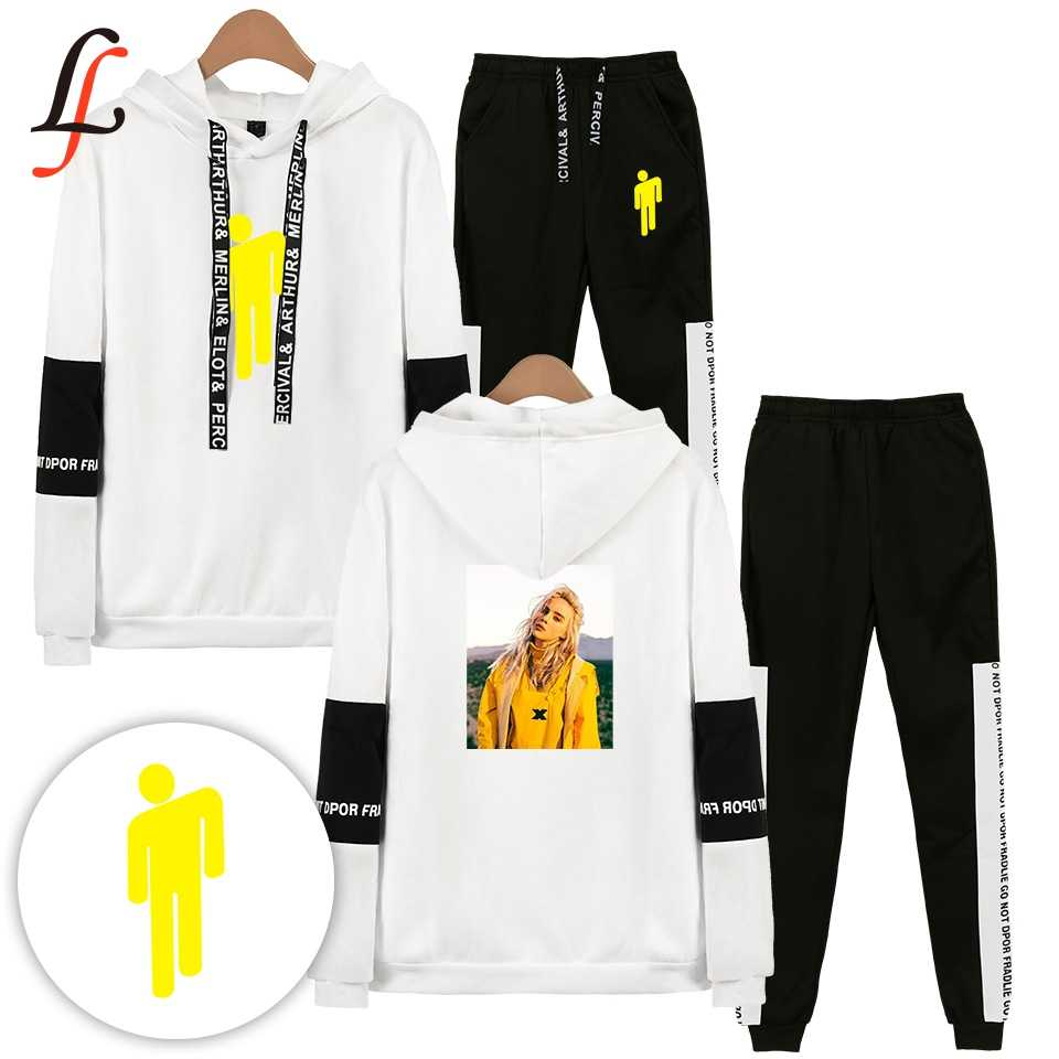 Billieeilish billie eilish 2 Delige Set Vrouwen Hip Hop Hoodies Sweatshirts Vrouwen/mannen Fashion Cool Hooded Casual Sport Pak