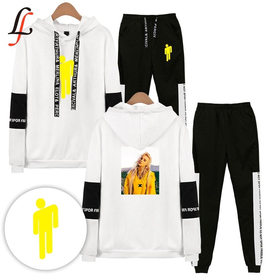 Billieeilish billie eilish 2 Stück Set Frauen Hip Hop Hoodies Sweatshirts Frauen/männer Mode Kühlen Kapuze Casual Sport Anzug